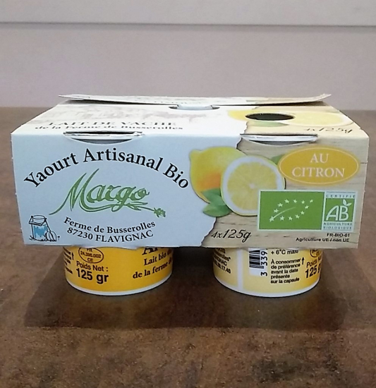 Yaourt fermier bio citron x 4